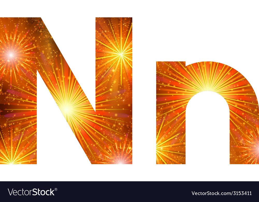 Set of letters firework n vector | Price: 1 Credit (USD $1)