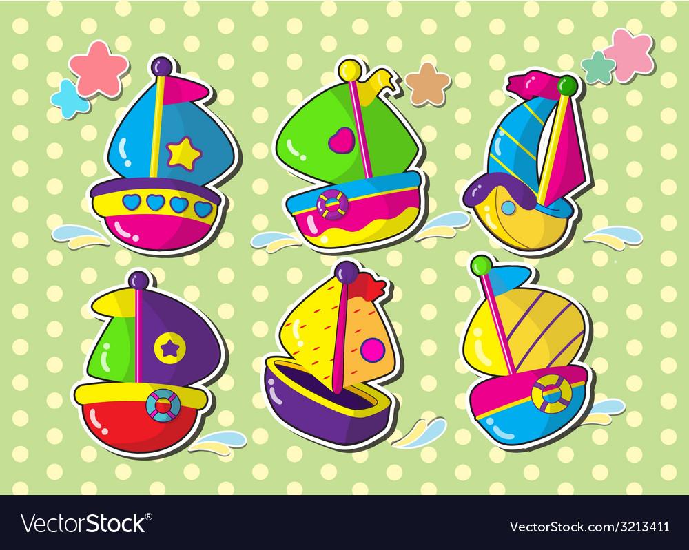 Ship sticker cartoon vector | Price: 1 Credit (USD $1)