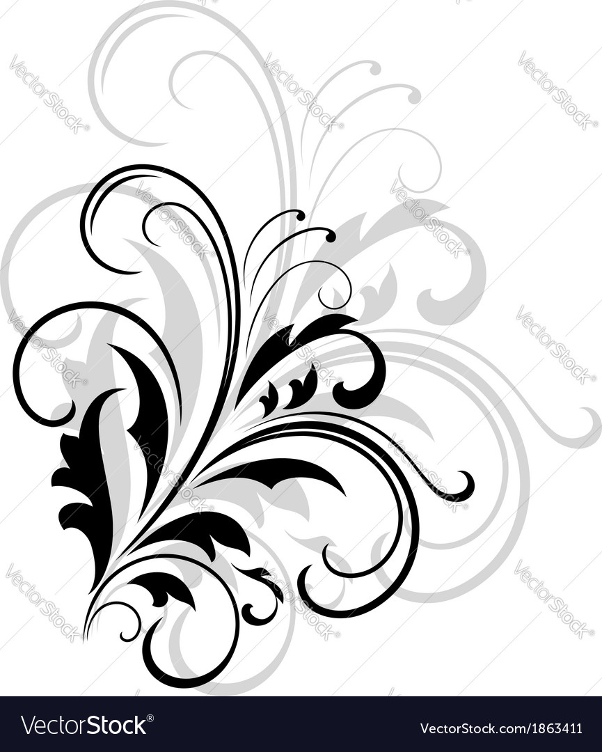 Simple black and white swirling foliate design vector | Price: 1 Credit (USD $1)