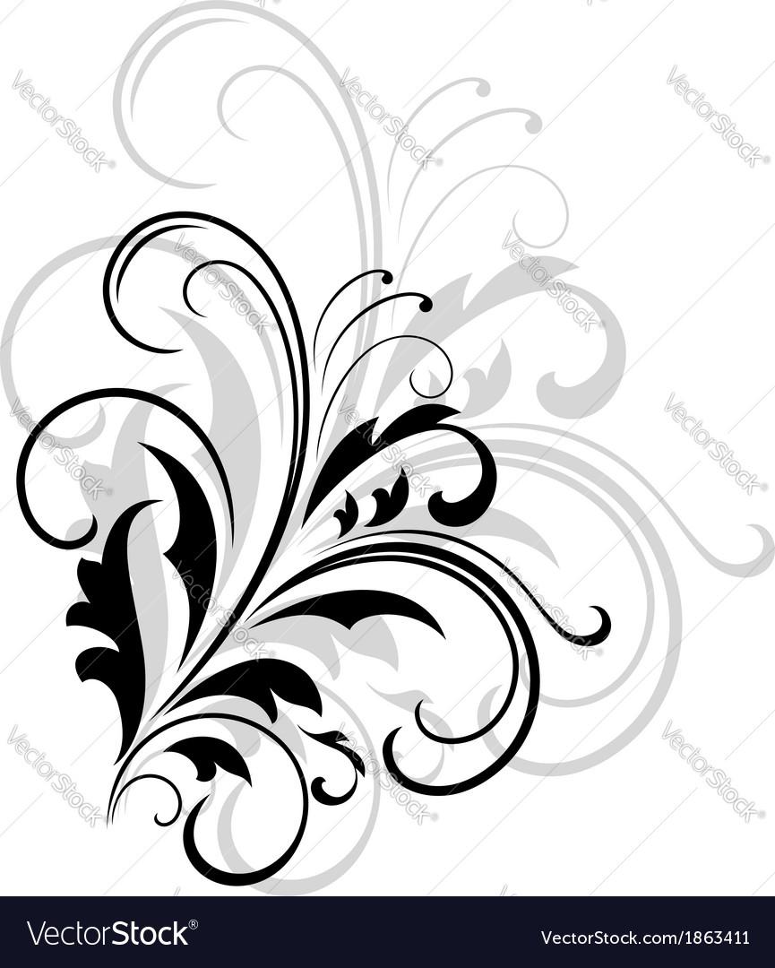 Simple black and white swirling foliate design vector | Price: 1 Credit (USD $1)