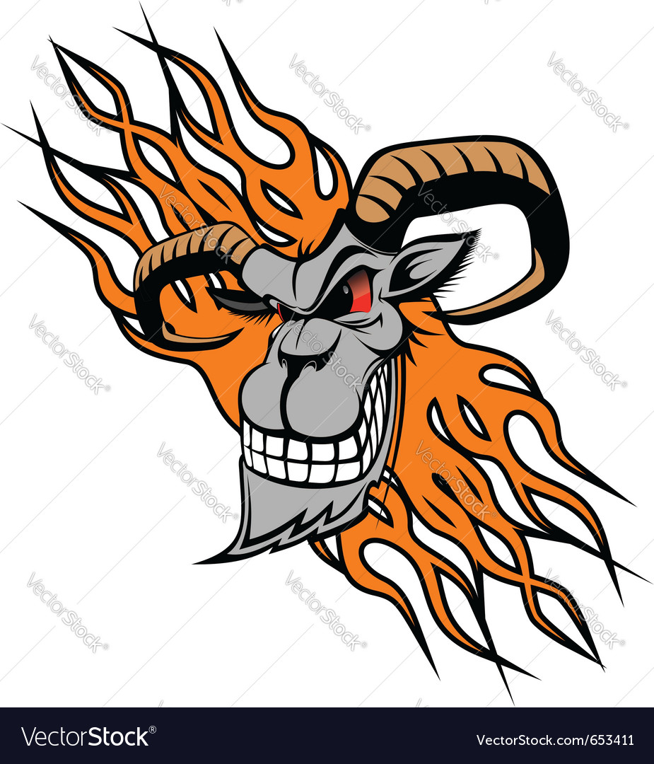 Wild goat with flames vector | Price: 1 Credit (USD $1)