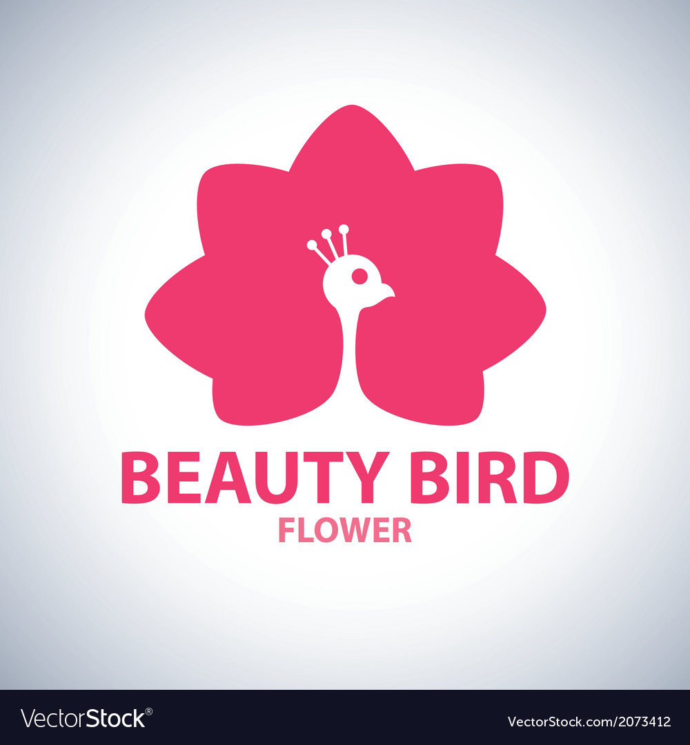 Beauty bird flower symbol icon vector | Price: 1 Credit (USD $1)