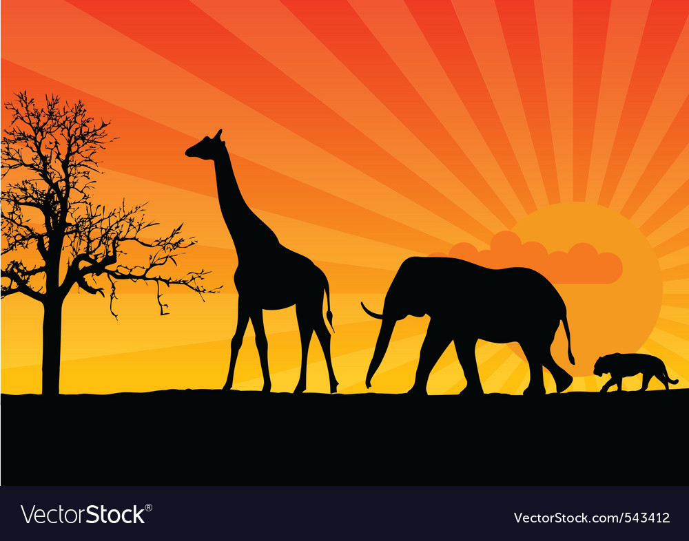 Black silhouette of african wild animals vector | Price: 1 Credit (USD $1)