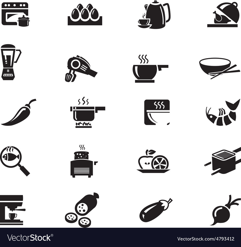 Food solid icons 9 vector
