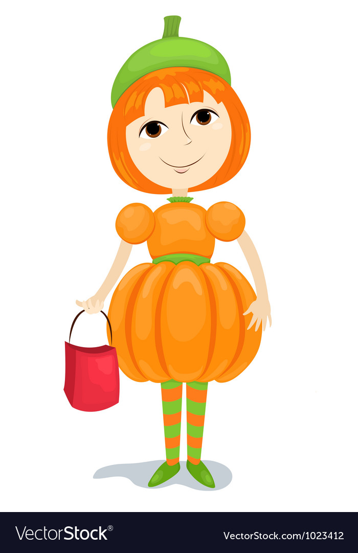 Girl pumpkin vector | Price: 1 Credit (USD $1)