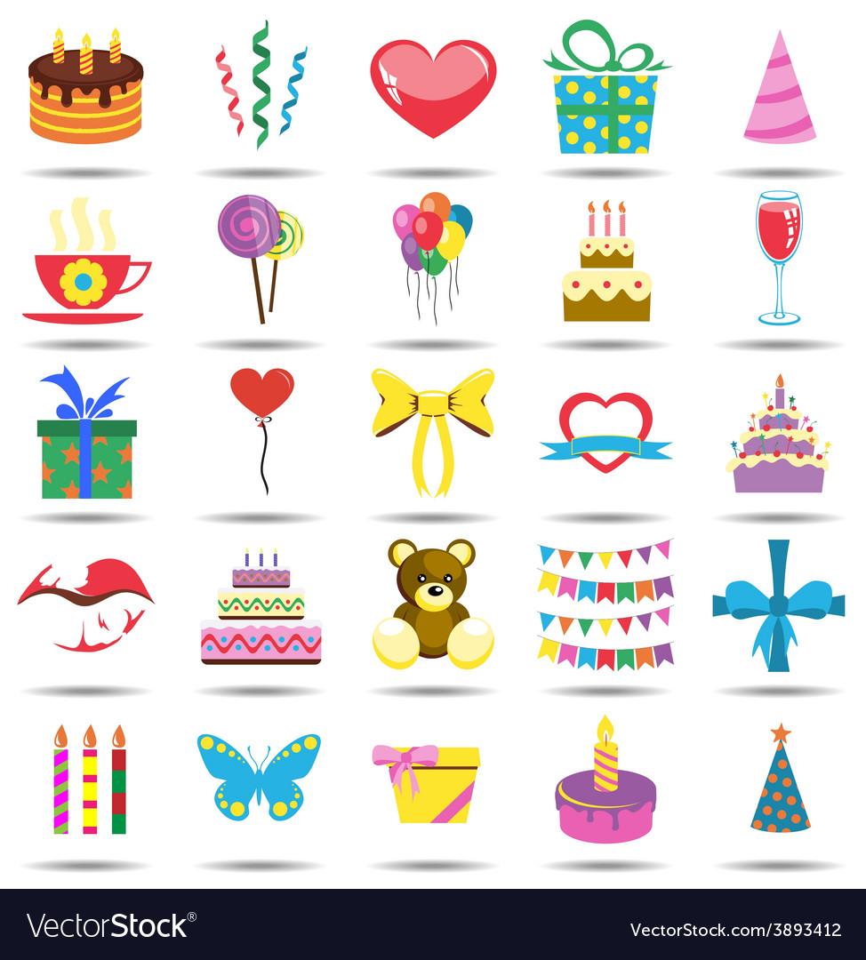 Happy birthday icons vector | Price: 1 Credit (USD $1)