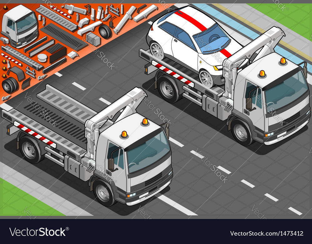 Isometric tow truck in car assistance vector | Price: 1 Credit (USD $1)