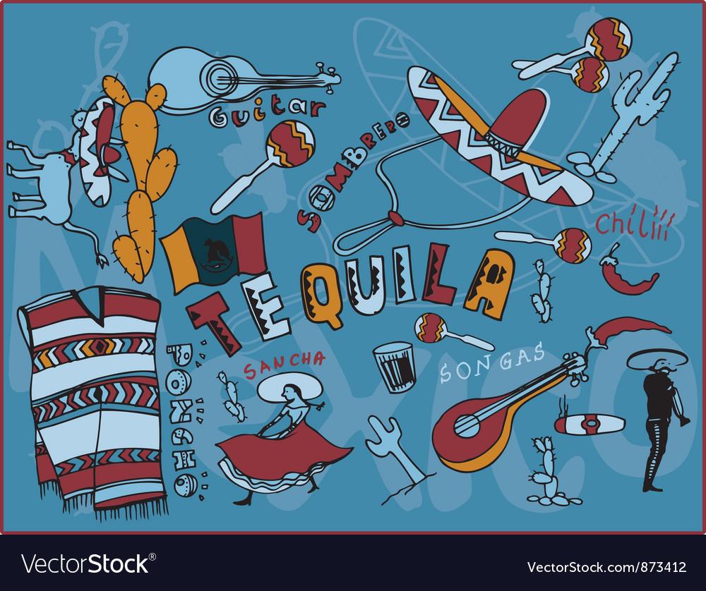 Mexico doodles vector | Price: 1 Credit (USD $1)