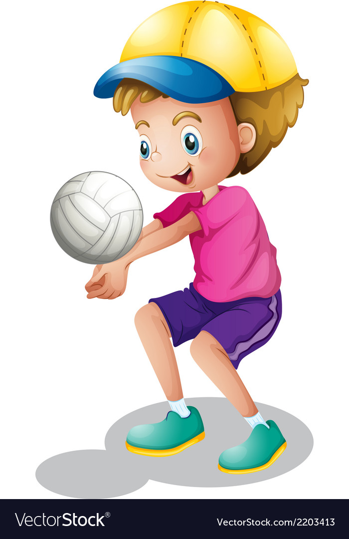 A young man playing volleyball vector | Price: 1 Credit (USD $1)