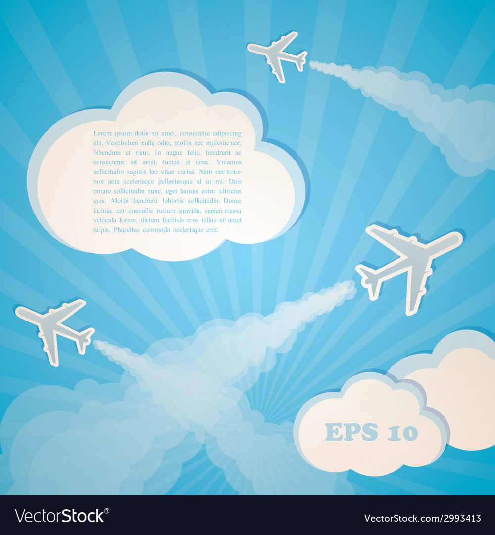 Abstract blue background with planes and clouds vector | Price: 1 Credit (USD $1)