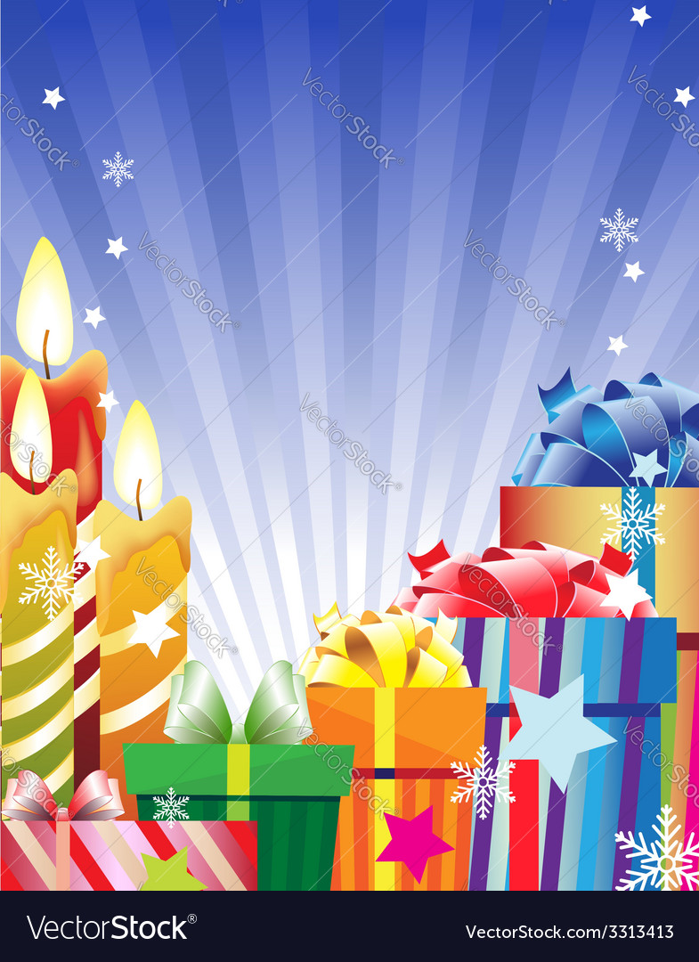 Burning candles and bright gift boxes vector | Price: 3 Credit (USD $3)