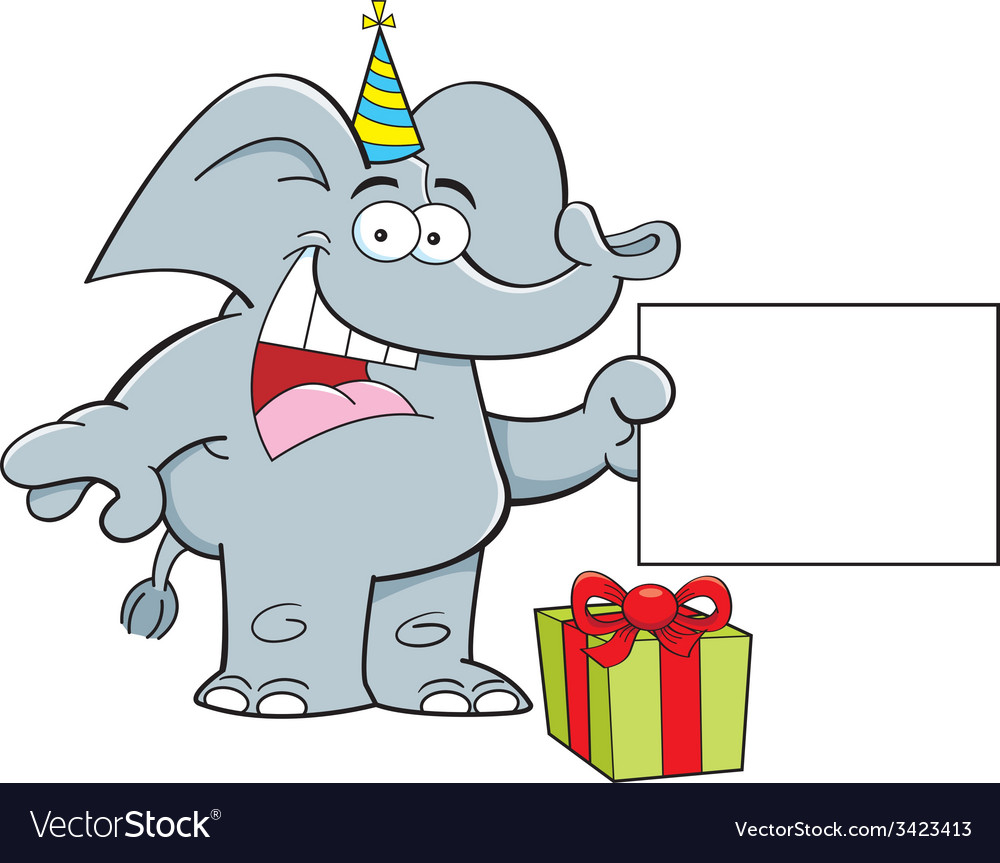 Cartoon elephant holding a sign vector | Price: 1 Credit (USD $1)