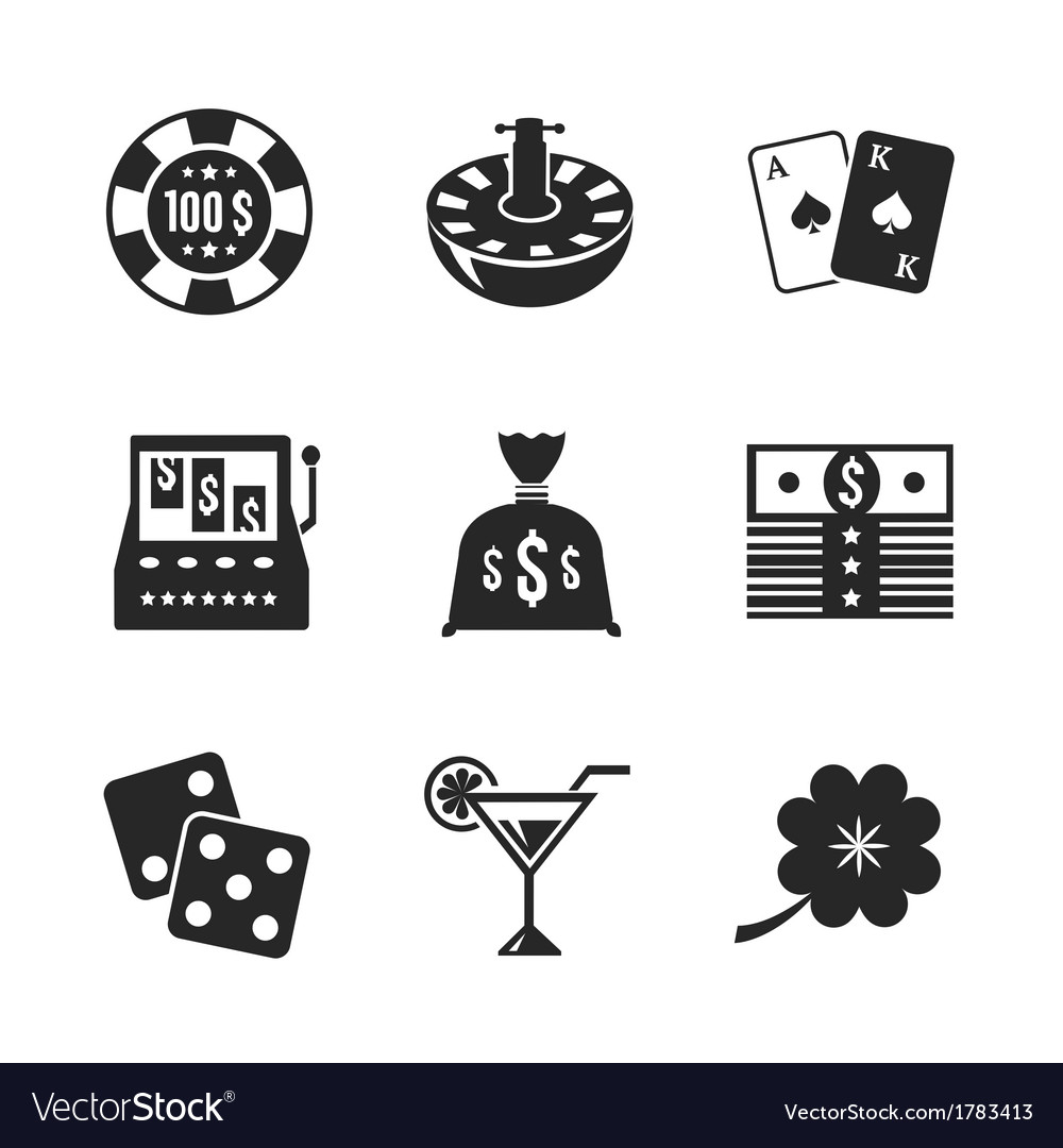 Casino iconset for design contrast flat vector | Price: 1 Credit (USD $1)