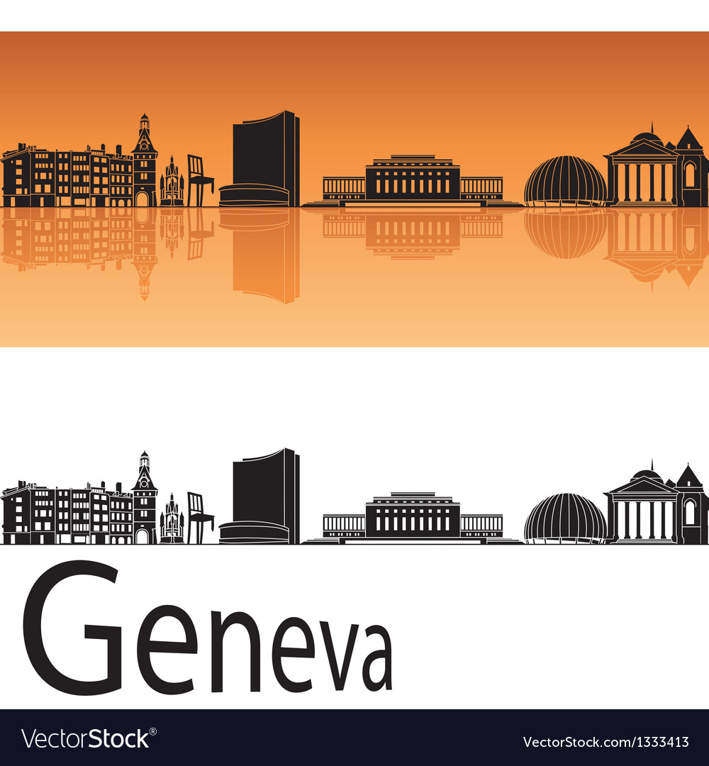 Geneva skyline in orange background vector | Price: 1 Credit (USD $1)