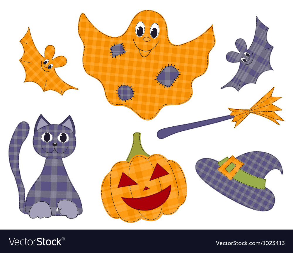 Halloween patchwork set vector   Price: 1 Credit (USD $1)