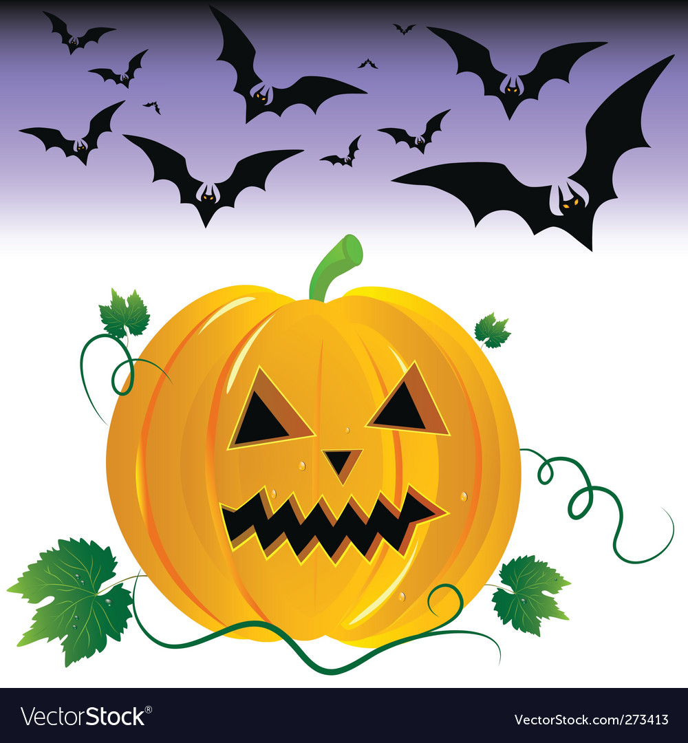 Halloween pumpkin and night bats vector | Price: 1 Credit (USD $1)