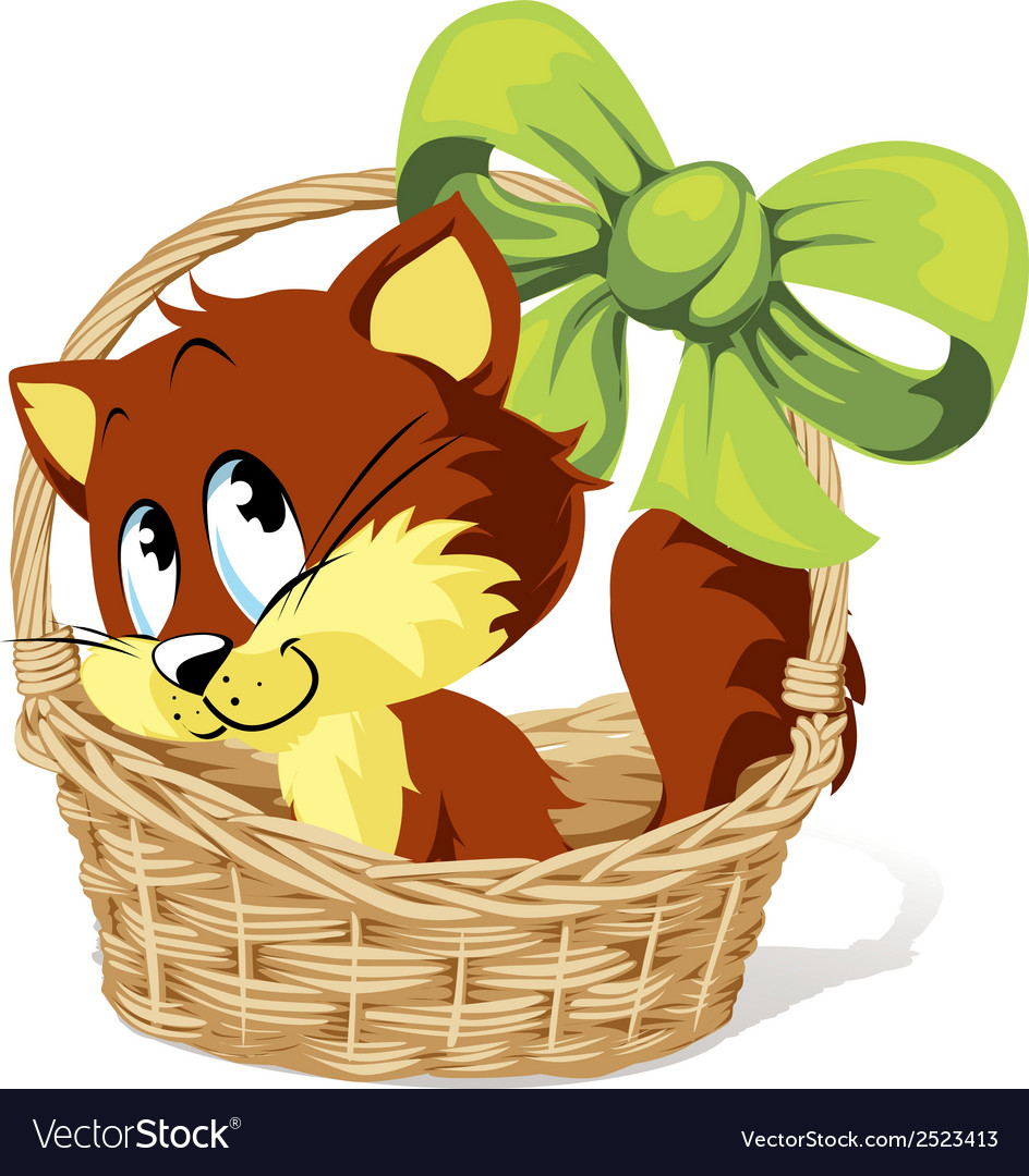 Kitty in basket vector | Price: 1 Credit (USD $1)
