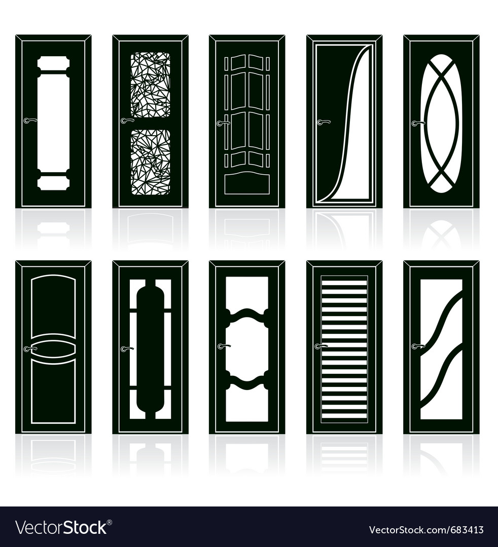 Modern front and interior doors vector | Price: 1 Credit (USD $1)
