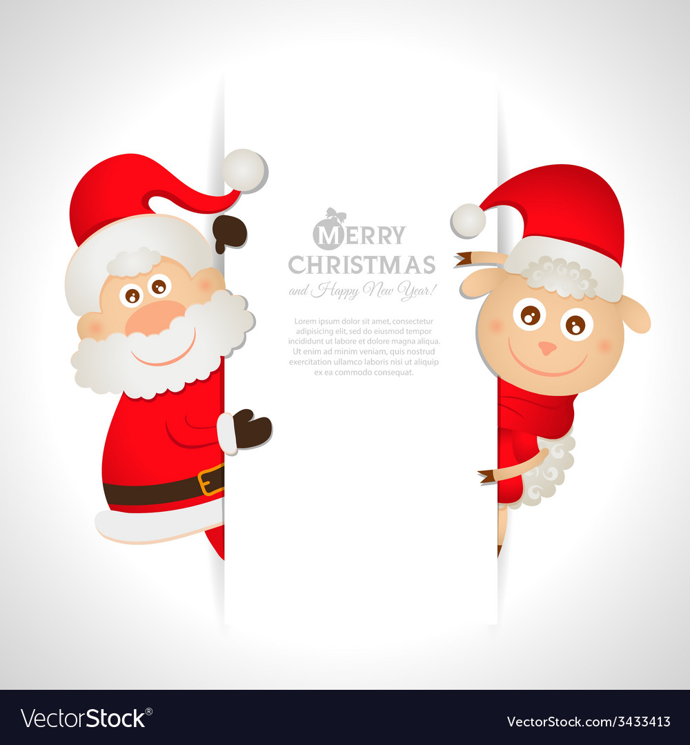 Postcard santa claus and sheep with space for text vector | Price: 1 Credit (USD $1)