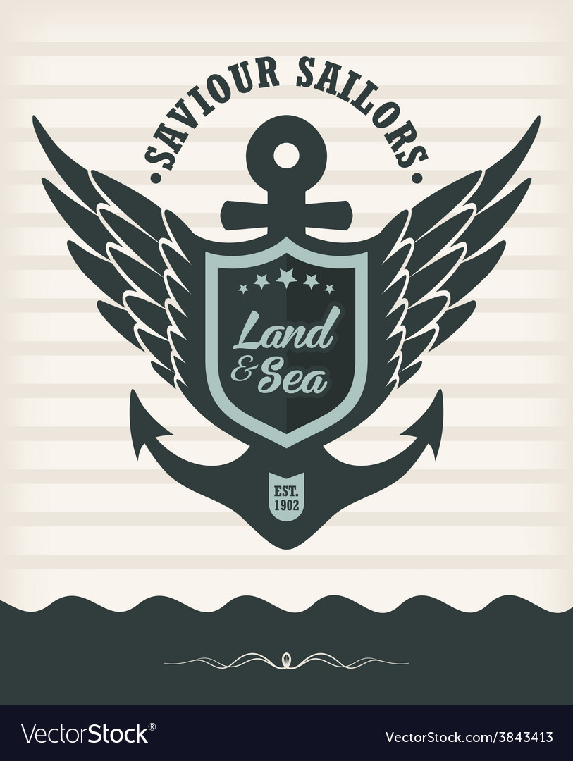 Vintage label with maritime style vector | Price: 1 Credit (USD $1)