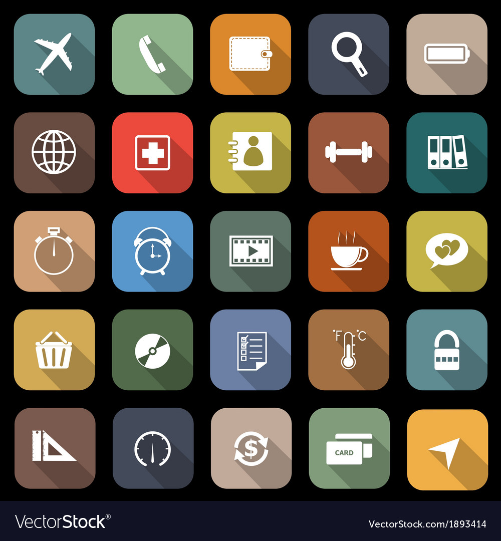 Application flat icons with long shadow set 2 vector | Price: 1 Credit (USD $1)