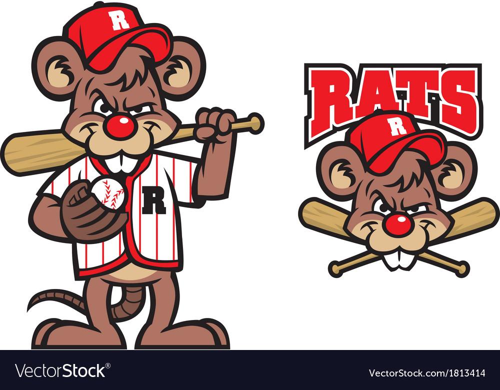Baseball rats mascot vector | Price: 1 Credit (USD $1)