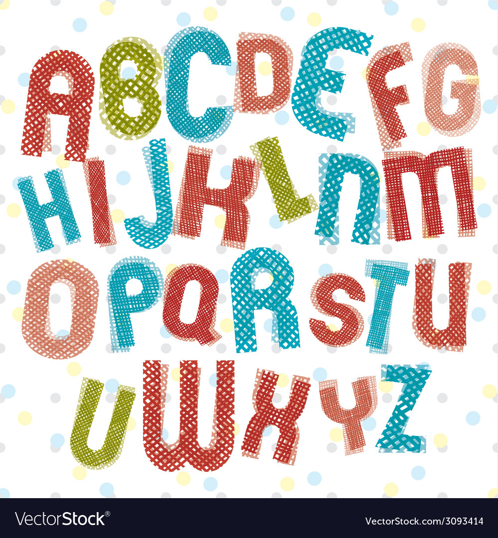Childish alphabet children style colorful letters vector | Price: 1 Credit (USD $1)