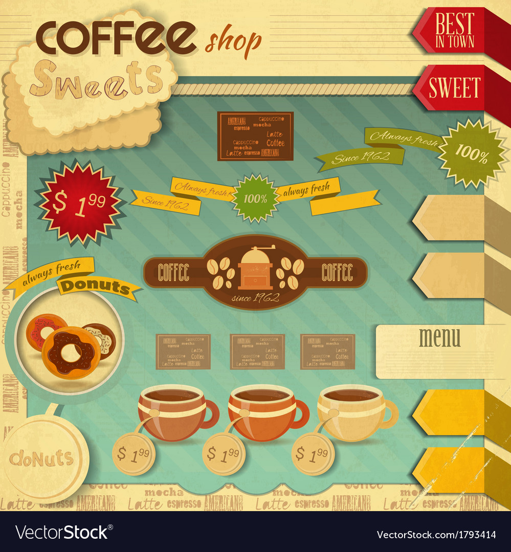 Coffee and sweet shop vector | Price: 1 Credit (USD $1)