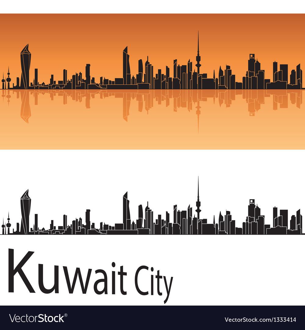 Kuwait city skyline in orange background vector   Price: 1 Credit (USD $1)