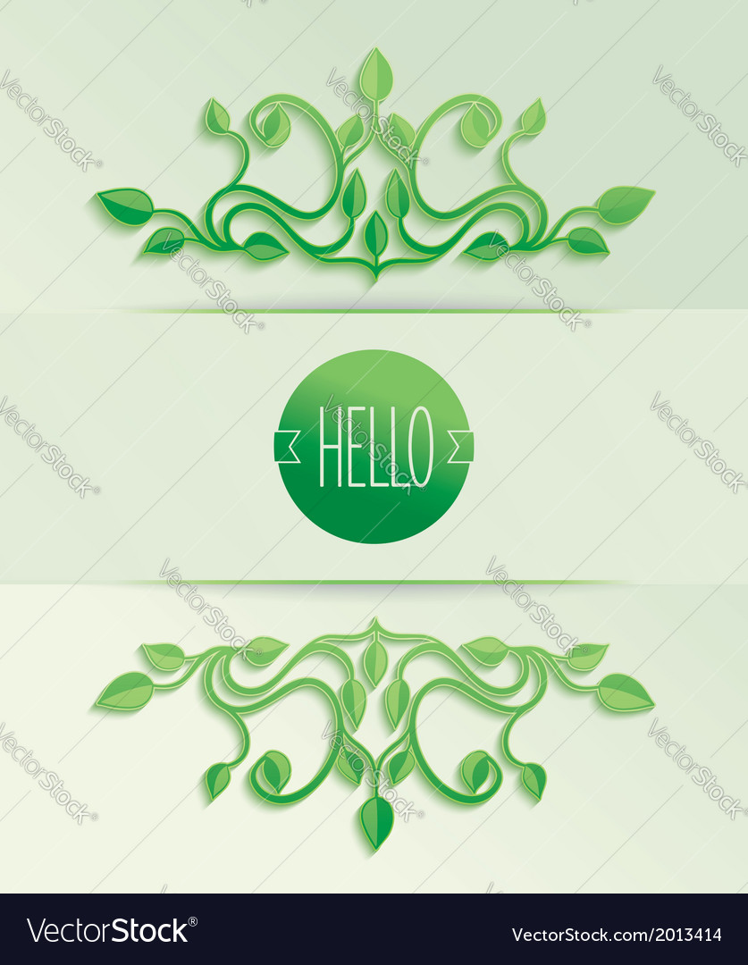 Label hello with green leaves vector | Price: 1 Credit (USD $1)