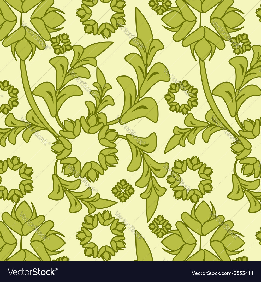 Seamless green floral pattern vector | Price: 1 Credit (USD $1)