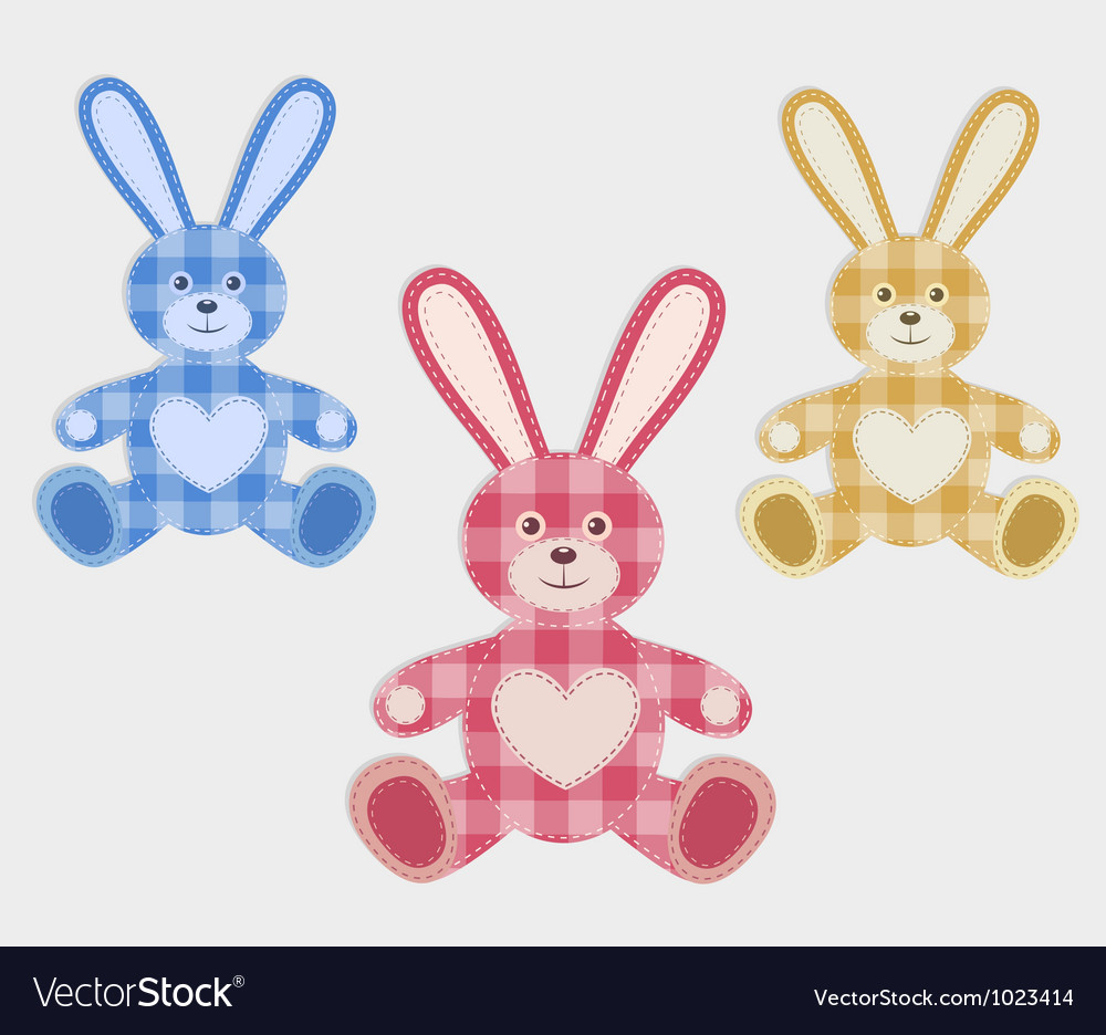Set of color hare vector | Price: 1 Credit (USD $1)