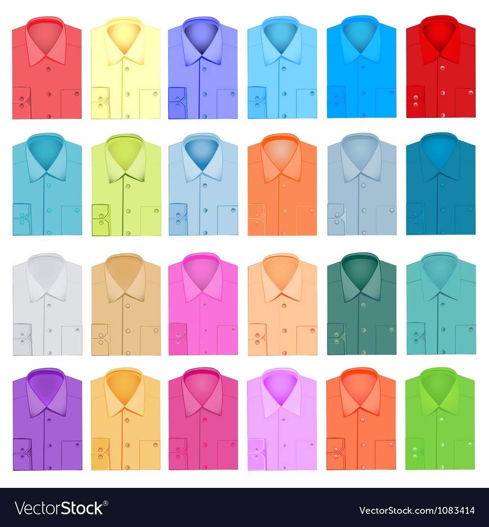 Set of plain shirt dress shirt for men vector | Price: 1 Credit (USD $1)