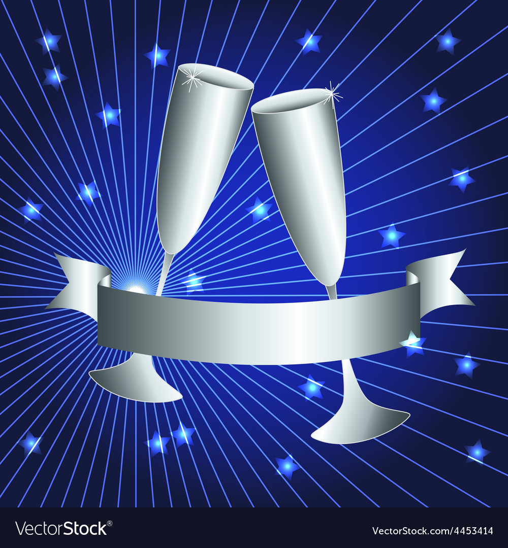Silver cups and ribbon banner vector   Price: 1 Credit (USD $1)