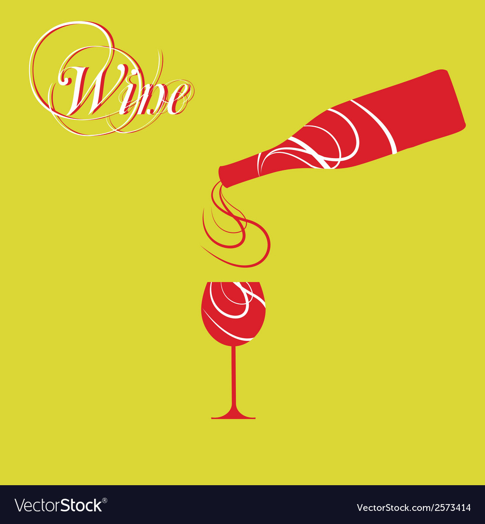 Wine bottle with wine glass vector | Price: 1 Credit (USD $1)