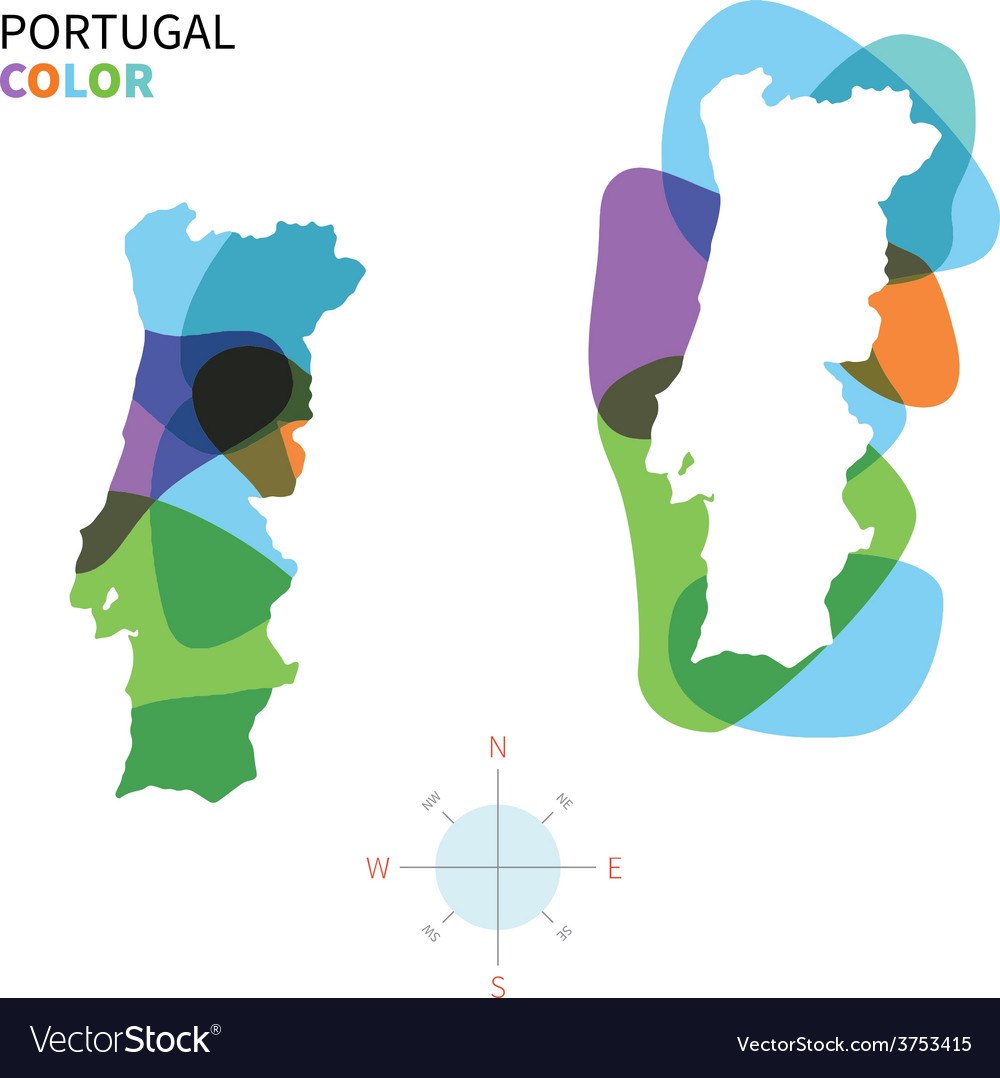 Abstract color map of portugal vector   Price: 1 Credit (USD $1)
