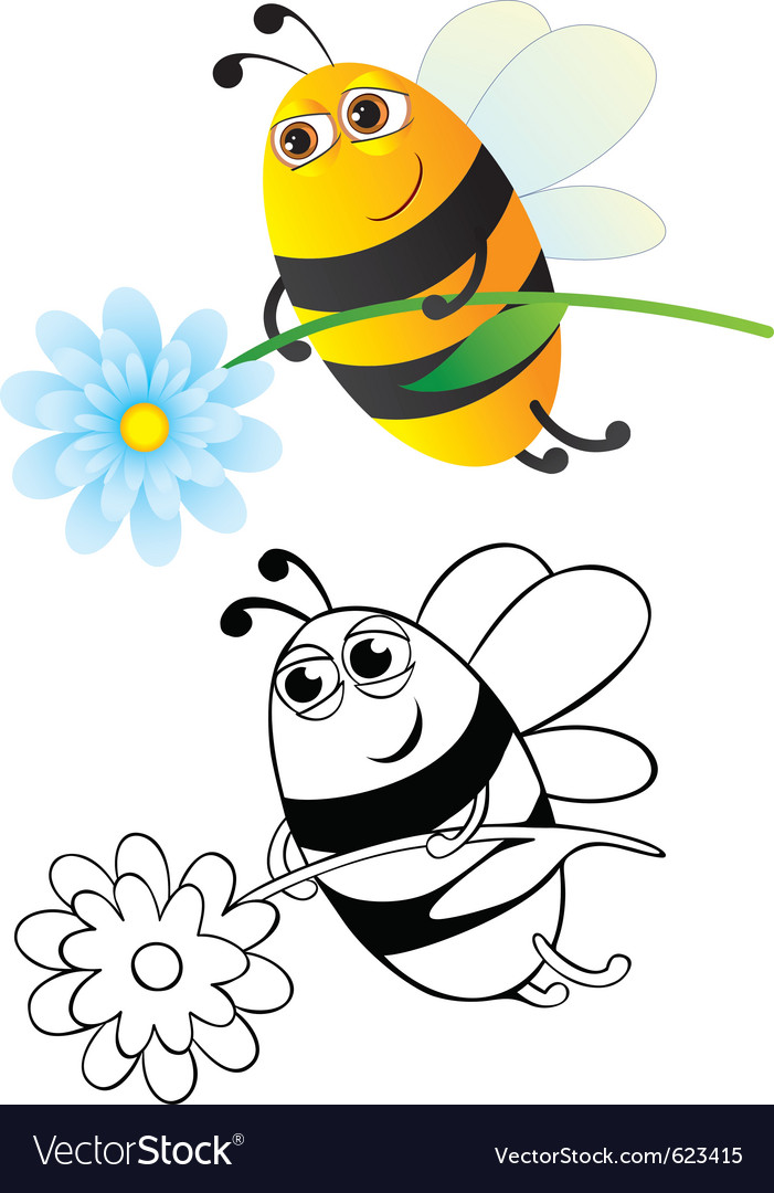 Bee with flower vector | Price: 1 Credit (USD $1)