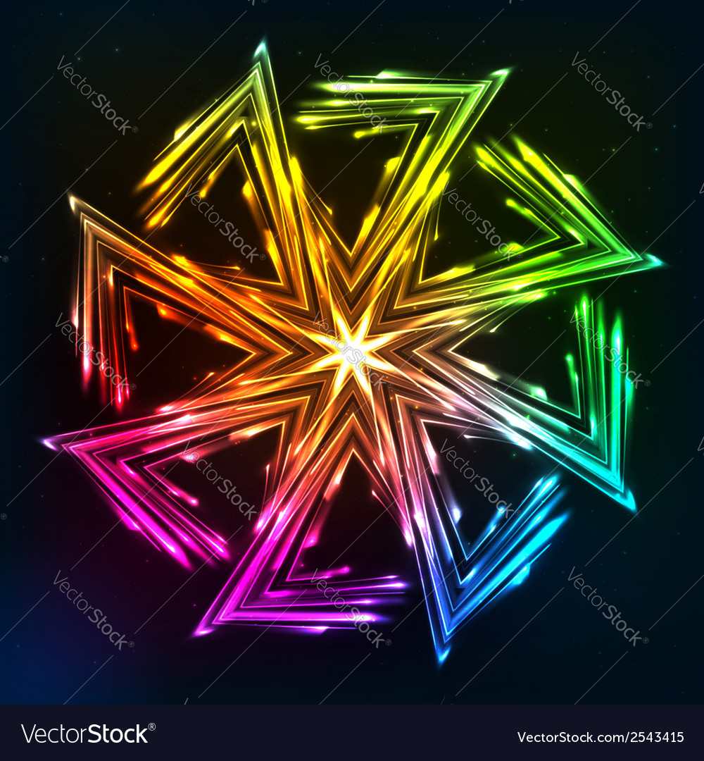 Bright neon lights sun symbol vector | Price: 1 Credit (USD $1)