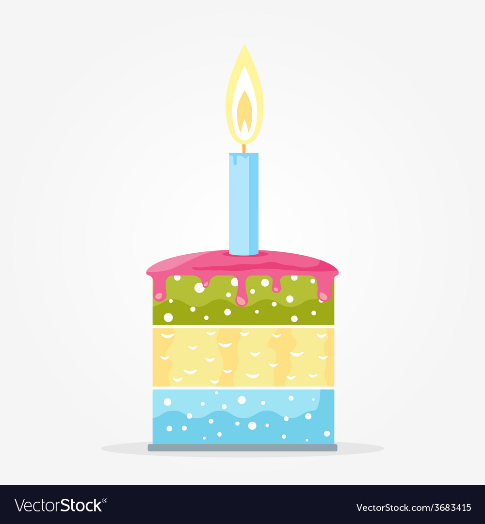 Cake with candle vector | Price: 1 Credit (USD $1)