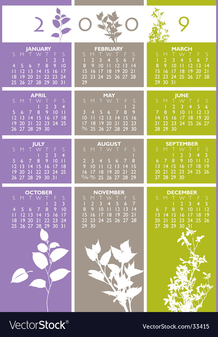 Floral calendar vector | Price: 1 Credit (USD $1)