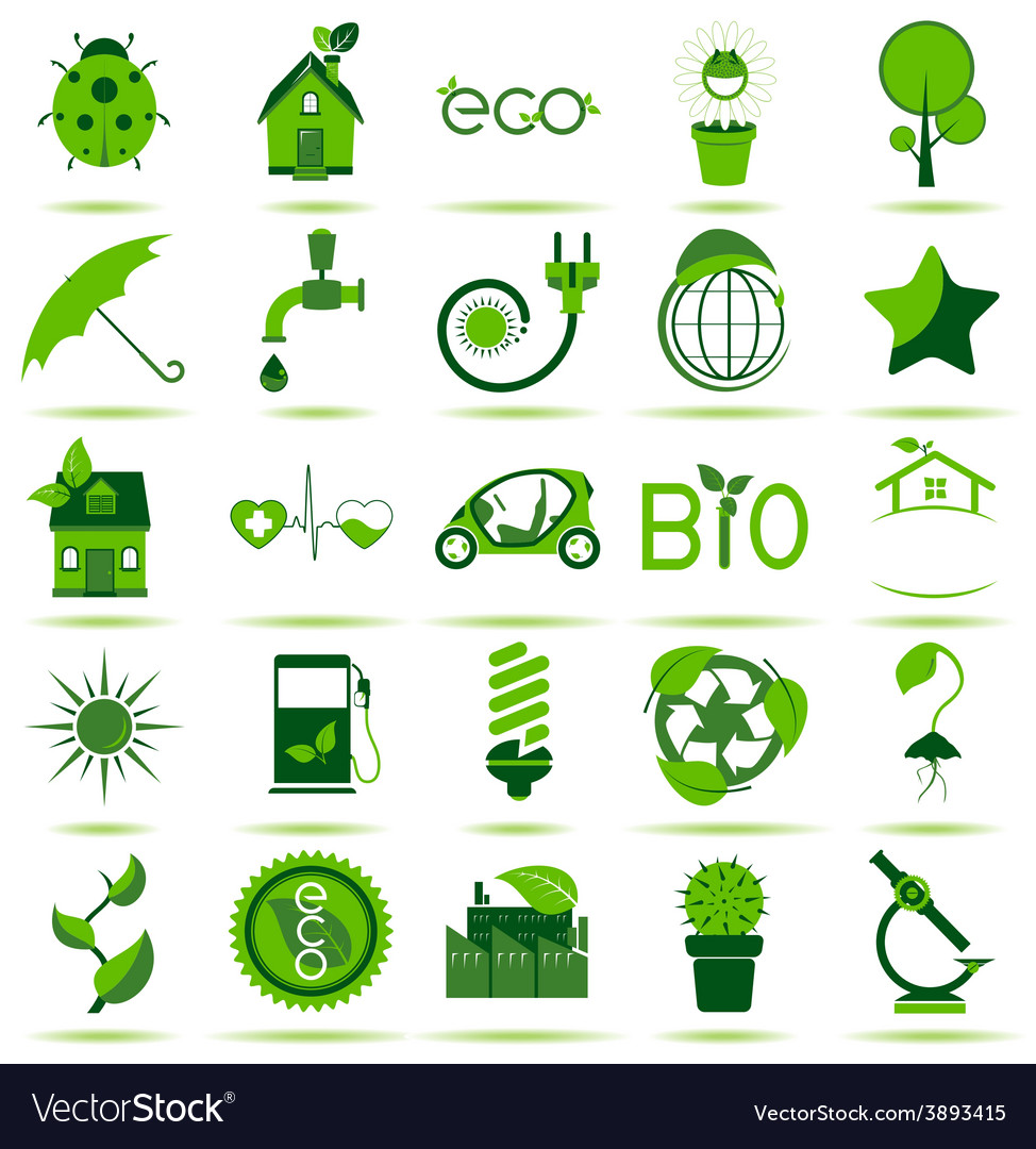 Green eco icons 3 vector | Price: 1 Credit (USD $1)