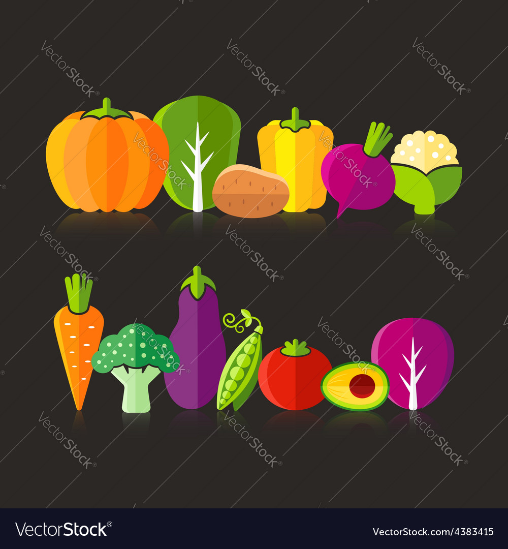 Organic farm vegetables on black background vector | Price: 1 Credit (USD $1)