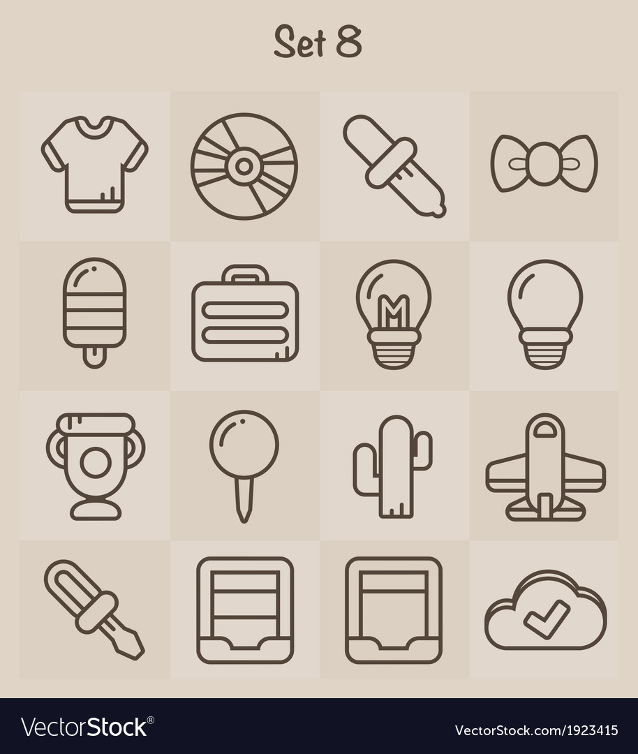 Outline icons set 8 vector | Price: 1 Credit (USD $1)