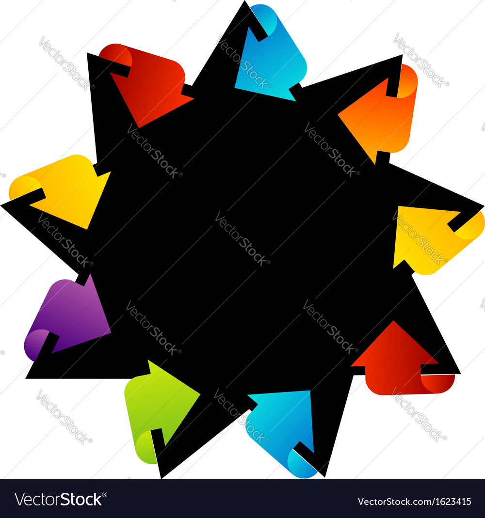 Star shaped text box with arrows vector | Price: 1 Credit (USD $1)
