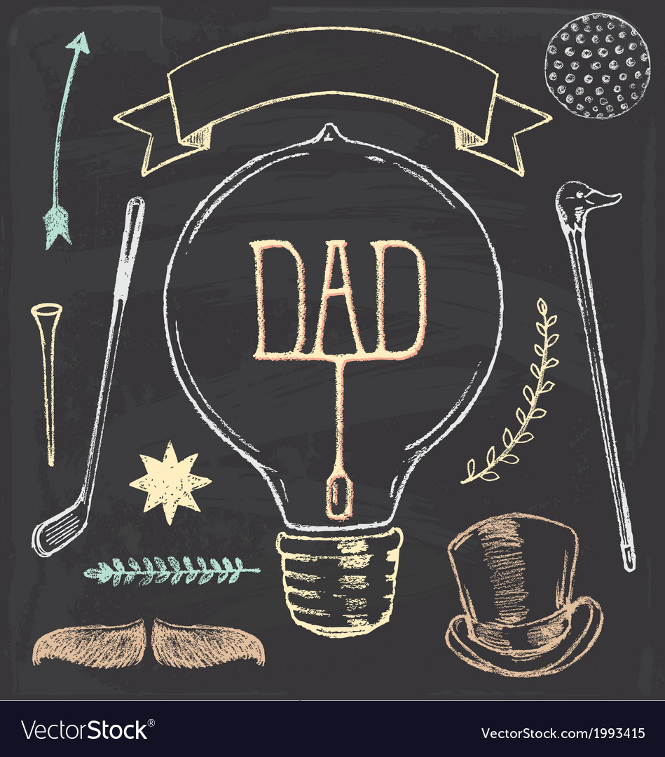 Vintage hand drawn chalk fathers day set vector | Price: 1 Credit (USD $1)