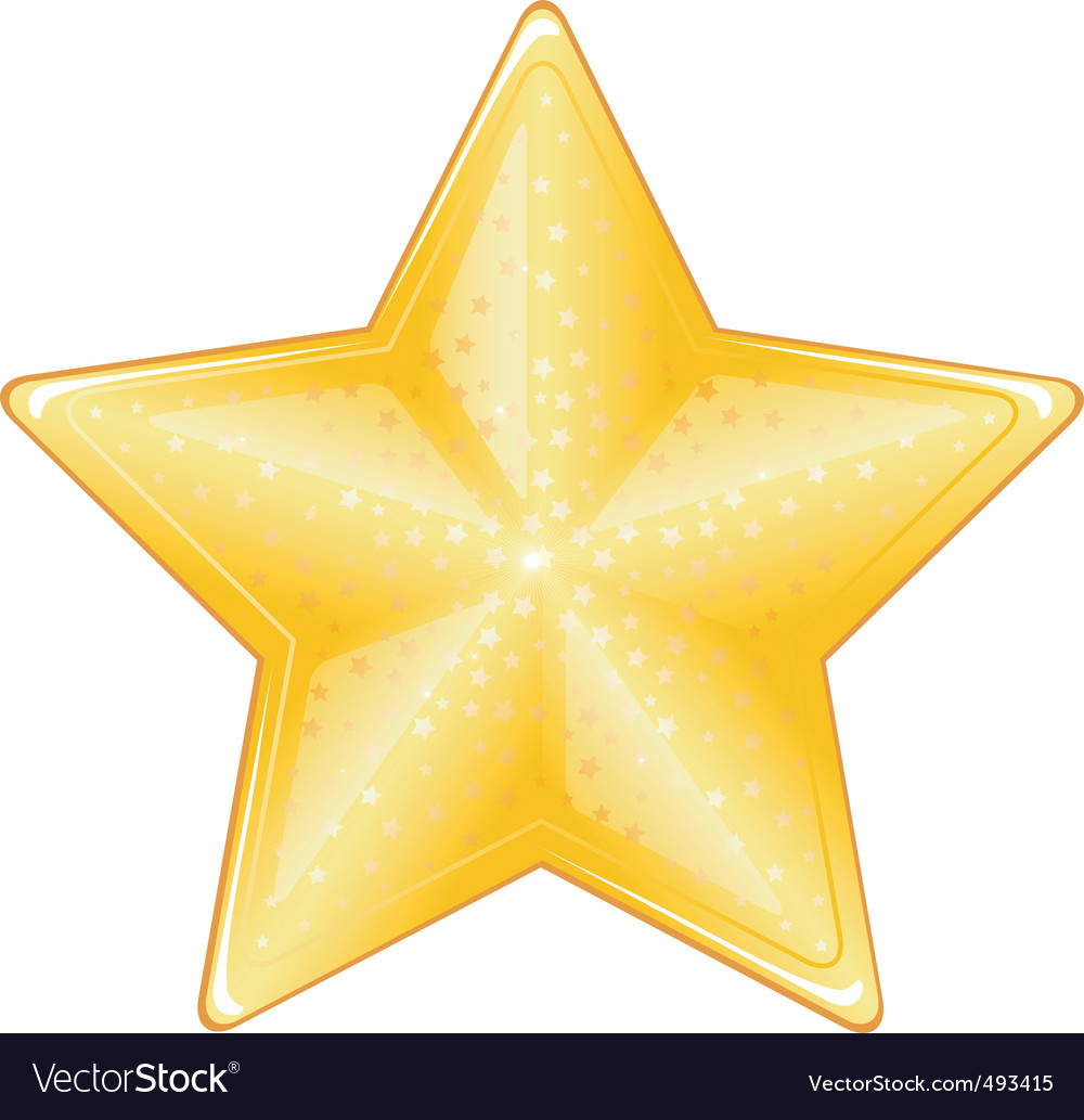 Yellow bright star vector | Price: 1 Credit (USD $1)