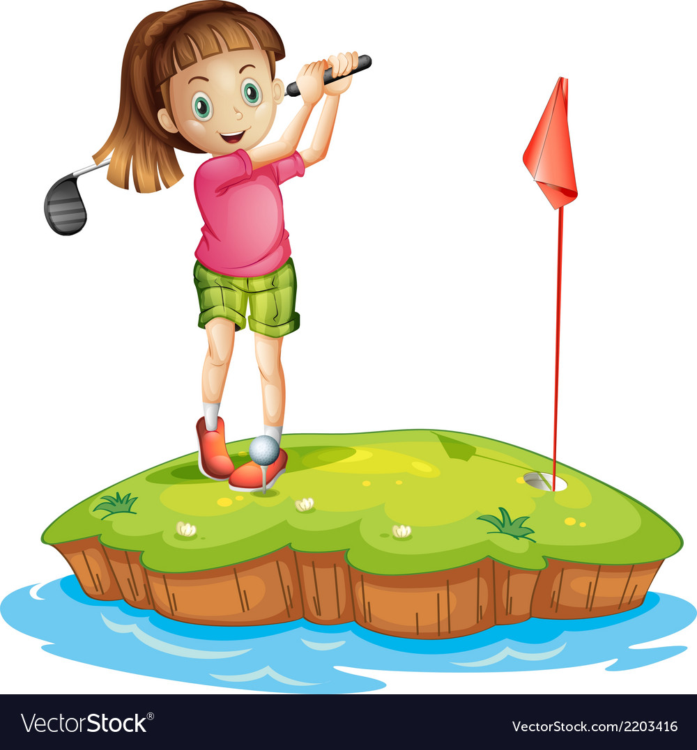 A cute little girl golfing vector | Price: 3 Credit (USD $3)