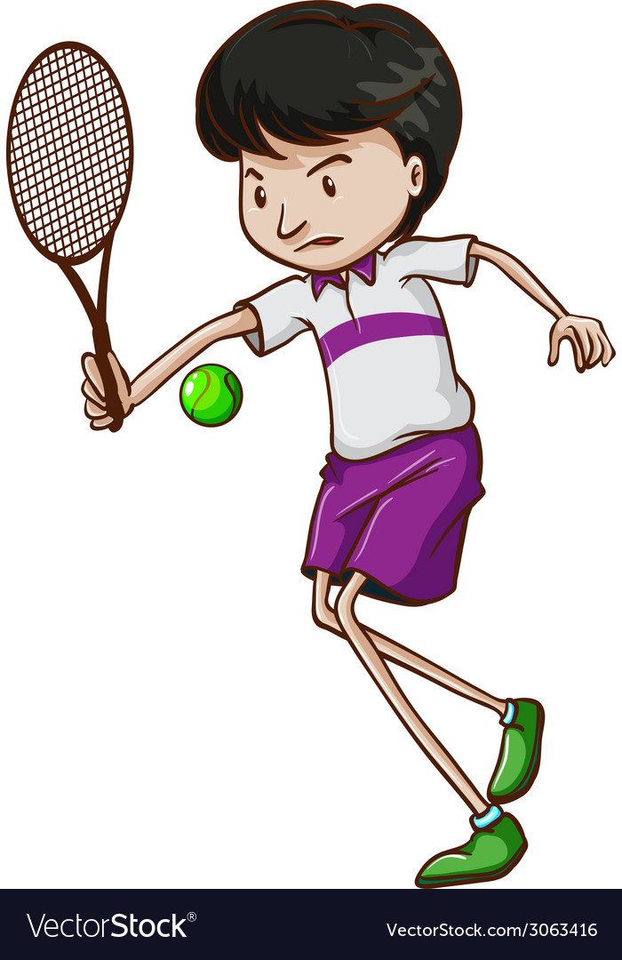 A male tennis player vector | Price: 1 Credit (USD $1)