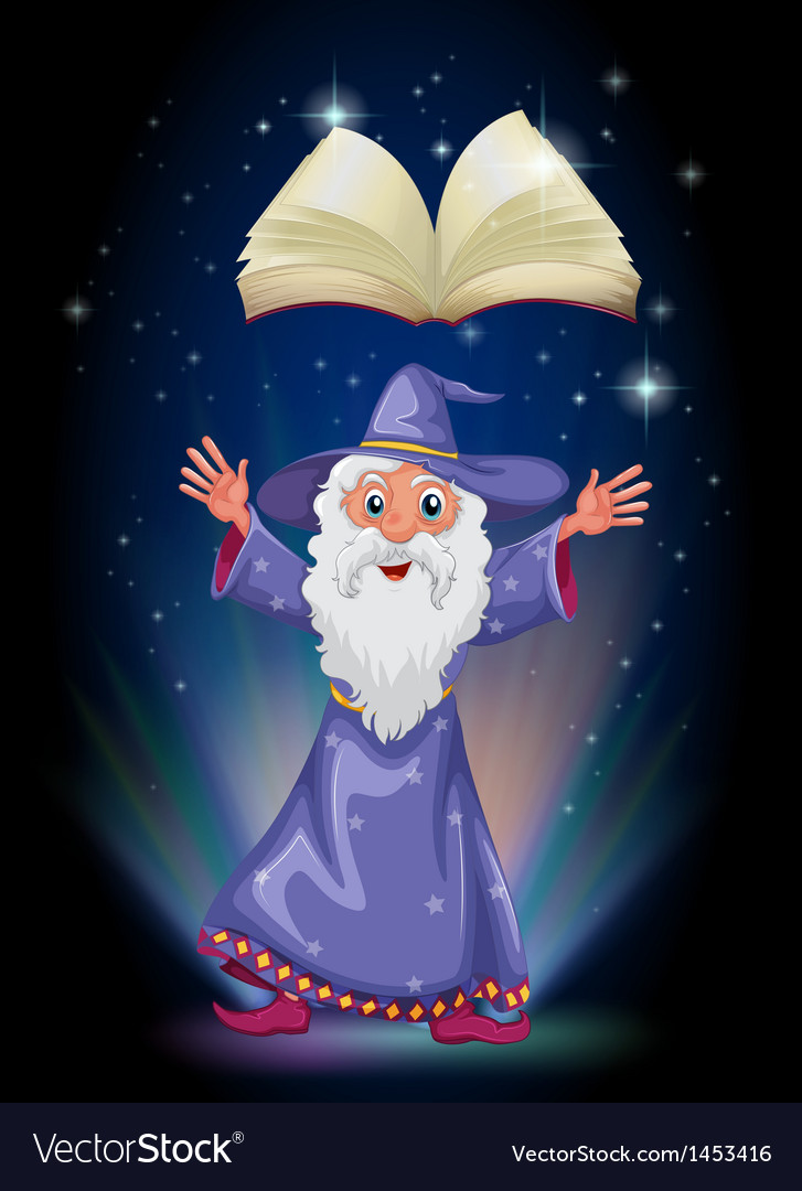 An old wizard below the floating empty book vector | Price: 1 Credit (USD $1)