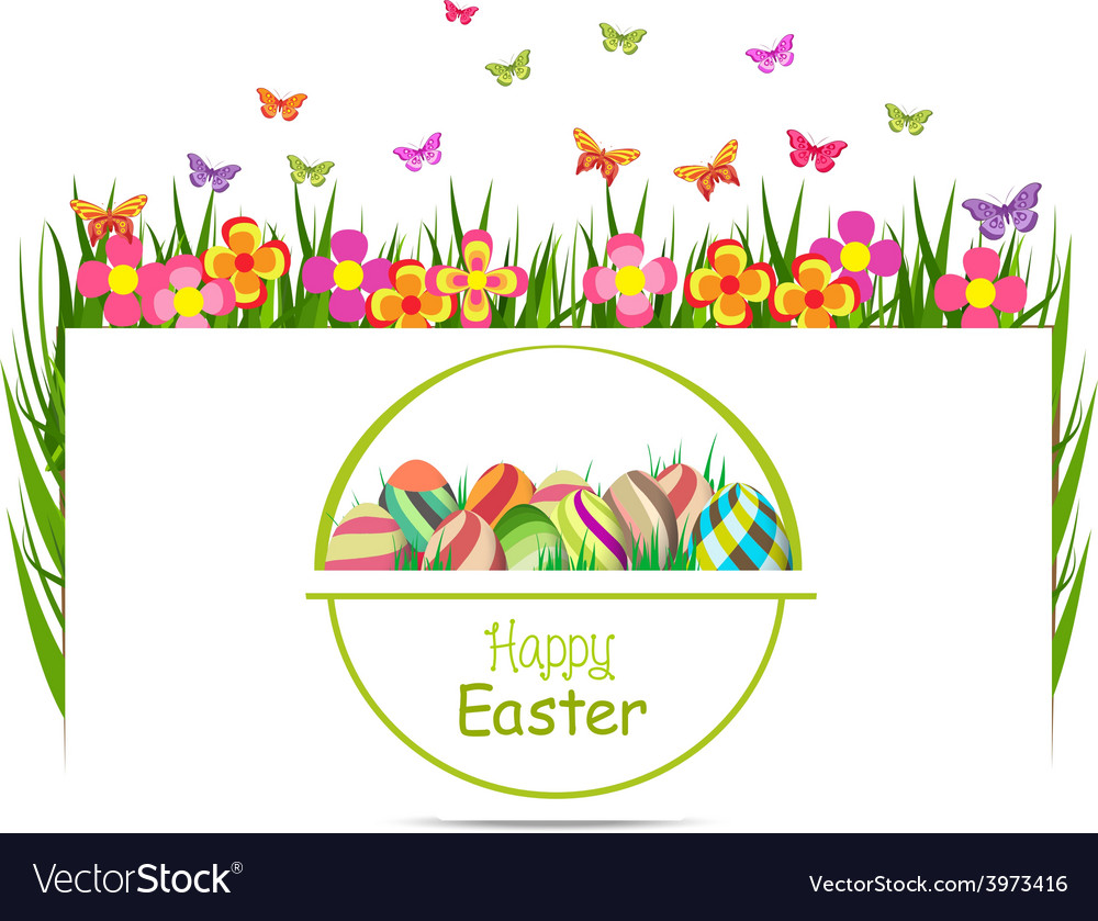 Easter egg spring with grass and butterfly vector | Price: 1 Credit (USD $1)